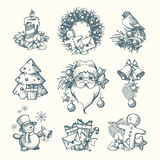Vector set Christmas hand drawn illustrations Royalty Free Stock Photos