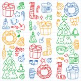 Vector set of Christmas, holiday winter days 2019, 2020, vector illustration. New Year`s pattern, children`s drawings royalty free illustration