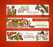 Vector set of Christmas horizontal banners. Royalty Free Stock Image