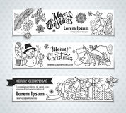 Vector set of Christmas horizontal banners. Royalty Free Stock Photography