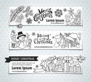Vector set of Christmas horizontal banners. Royalty Free Stock Photography