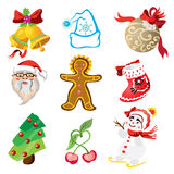 Vector set of christmas icons in cartoon style Royalty Free Stock Photography