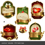 Vector set: christmas labels. Set of five detailed gold-framed  labels on christmas topics Royalty Free Stock Images
