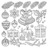 Vector set Christmas, New Year abstract elements Stock Image
