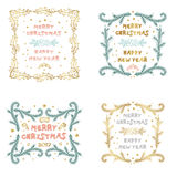 Vector set of Christmas and New Year cards with Christmas decora Stock Photography