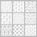 Vector set Christmas and new year seamless patterns holiday sketch black white line backgrounds with gifts socks. Snowflakes cap for greeting card design and royalty free illustration