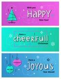 Vector set of Christmas and New Year social media banners with C. Set of New Year social media banners with Christmas tree, Christmas balls and hand drawn Stock Image