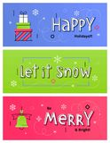 Vector set of Christmas and New Year social media banners with g. Set of Christmas social media banners with gift boxes, Christmas bell and hand drawn letters royalty free illustration