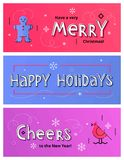 Vector set of Christmas and New Year social media banners with g. Set of Christmas social media banners with gingerbread man, bird and hand drawn letters. Vector Stock Image