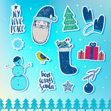 Vector set of Christmas, New Year stickers, badges. Design elements for holiday decoration. Stock Image