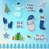 Vector set of Christmas, New Year stickers, badges. Design elements for holiday decoration. Stock Photography