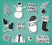 Vector set of Christmas, New Year stickers, badges. Design elements for holiday decoration. Stock Photos