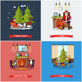 Vector set of Christmas, New Years Eve celebration concept posters Stock Images