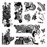 Vector set of Christmas object silhouettes. Stock Image