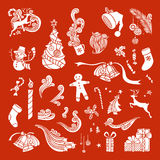 Vector set of Christmas object silhouettes. Royalty Free Stock Photos