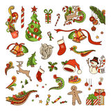 Vector set of Christmas objects. Stock Photo