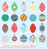 Vector Set: Christmas Ornaments. Collection or retro style Christmas ornaments in soft colors Royalty Free Stock Image