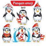 Vector set of christmas penguin characters. Set 5 Stock Photography
