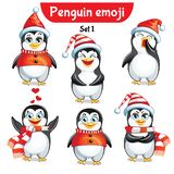 Vector set of christmas penguin characters. Set 1 Stock Image