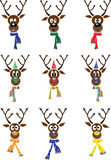 Vector Set Christmas with reindeer Stock Photos