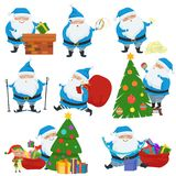 Vector set of Christmas Santa Claus in blue coat. Set of cute cartoon characters with different emotions and poses. stock illustration
