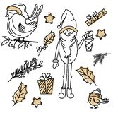 Vector set of Christmas signs drawn in doodle vector illustration