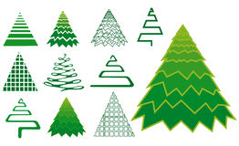 Vector set of christmas tree icons Royalty Free Stock Photos