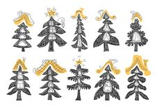 Vector set of christmas tree vector illustration