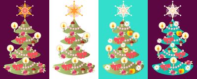 Vector set of christmas trees. Colorful cards Royalty Free Stock Photo