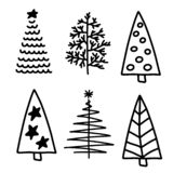Vector Set of christmas trees flat icons vector illustration