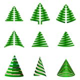 Vector set of Christmas trees. Stylized xmas tree for your holiday design. Isolated on white background. Royalty Free Stock Image