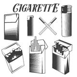 Vector set cigarette, lighter and pack of cigarettes. Smoking objects in monochrome style  on white background. Royalty Free Stock Photography