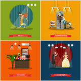 Vector set of cinema art concept posters in flat style Royalty Free Stock Photo