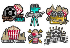Vector set cinema labels and logos. Isolated illustration in vintage style. Colorful badges, emblems, design elements of Stock Image