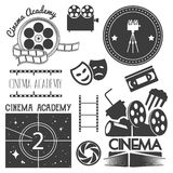 Vector set of cinema logo, labels. Movie studio and theater badges, emblems, signs. Illustration in vintage retro style. Royalty Free Stock Photos