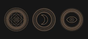 Vector Set of Circle Geometric Ornaments. Geometric alchemy symbol. Abstract occult and mystic signs. Black background royalty free illustration