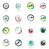 Vector set of circle icons. Time clock, cloud storage and earth concepts stock illustration
