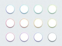 Vector 3d Circle White Text Box Banner Elements Set of 12. Vector set of 12 circle, overlap 3d colorful round banners with space for text or images and editable Stock Illustration