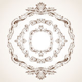 Vector set of circle vintage frames. Royalty Free Stock Photography