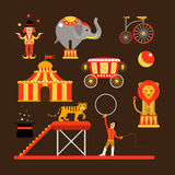 Vector set of circus artists, acrobats and animals  on white background. Royalty Free Stock Photo