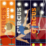 Vector set of circus concept banners. Acrobats and artists perform show in arena. Royalty Free Stock Image