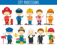 Vector Set of City Professions. In cartoon style Royalty Free Stock Photos