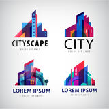 Vector set of city scape building property logos, town, skyscrapers Stock Image