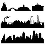 Vector set of city silhouettes - cultural, industrial and urban buildings Royalty Free Stock Images