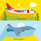 Vector Set of Civil and military aviation. Flat style colorful Cartoon illustration. Airliner and combat fighter. Isolated on a color background Stock Photos