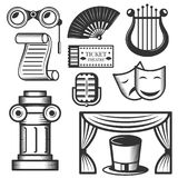 Vector set of classic theater isolated icons. Black and white theater symbols and design elements. Stock Photos