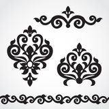 Vector set with classical ornament in Victorian style. Royalty Free Stock Photo