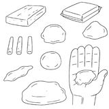 Vector set of clay for kid. Hand drawn cartoon, doodle illustration royalty free illustration