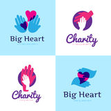 Vector set of clean charity center logos. Hospital logos with hands and heart Stock Photos