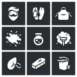 Vector Set of Cleaning after the murder Icons. Royalty Free Stock Images